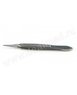 Пинцет для фиксации глазного яблока 1х2 зубый 6мм (платформа), 72 мм