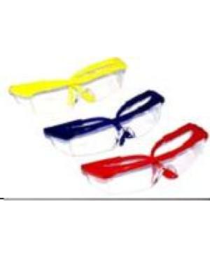 Очки защит, прозрач. с цветной оправой(жел, крас, син) D-736